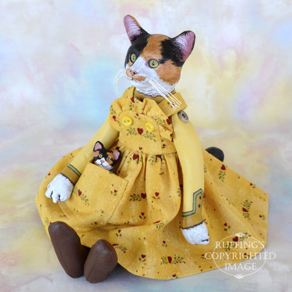 Haley and Boo, Original One-of-a-kind Calico Cat and Kitten Art Dolls by Max Bailey