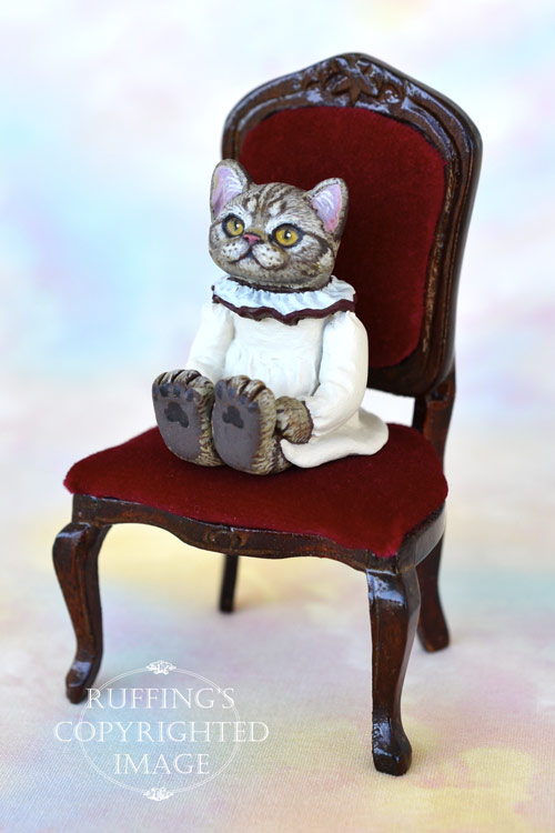 Hannah, miniature American Shorthair silver tabby cat art doll, handmade original, one-of-a-kind kitten by artist Max Bailey