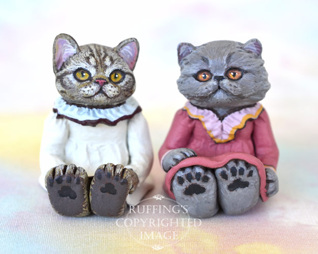 Hannah and Sylvie, miniature American Shorthair silver tabby and Blue Persian cat art doll, handmade original, one-of-a-kind kitten by artist Max Bailey