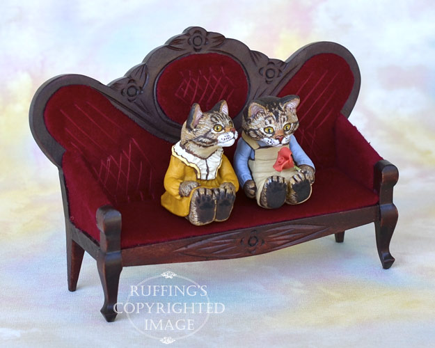 Harold and Hildie, miniature tabby Maine Coon cat art dolls, handmade original, one-of-a-kind kittens by artist Max Bailey
