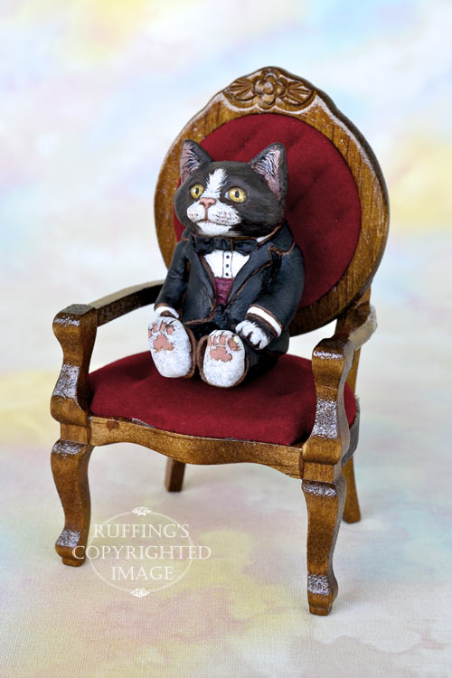 Miniature black-and-white tuxedo cat art doll, handmade original, one-of-a-kind kitten, Harper by artist Max Bailey