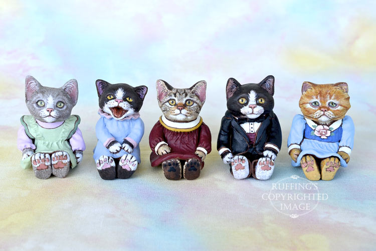 Willow, Izzie, Annabelle, Harper, and Nora, Original One-of-a-kind Miniature Kitten Art Dolls by Max Bailey