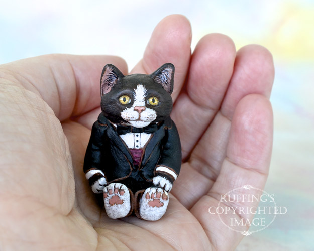 Harper, Original One-of-a-kind Miniature Tuxedo Kitten Art Doll by Max Bailey