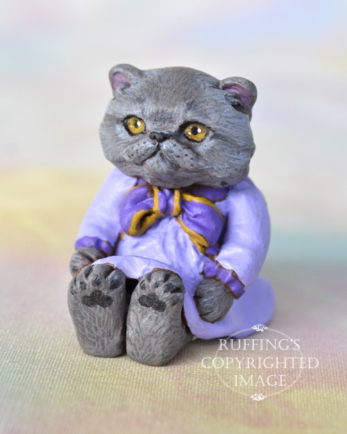 Heather, miniature Blue Persian cat art doll, handmade original, one-of-a-kind kitten by artist Max Bailey