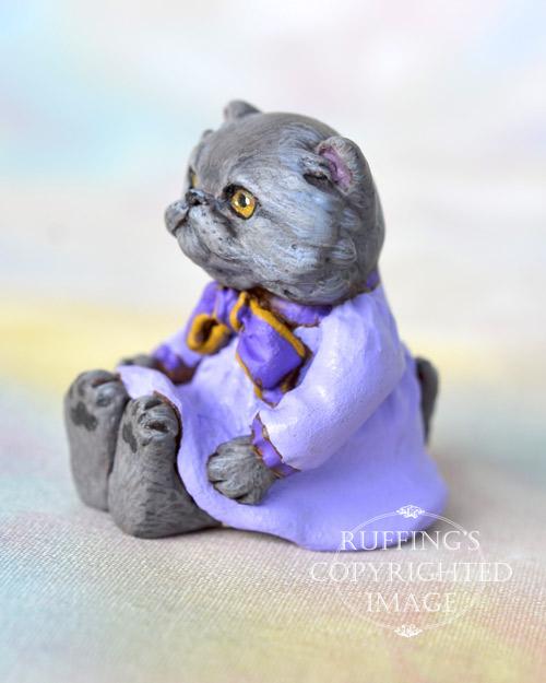 Heather, miniature Blue Persian cat art doll, handmade original, one-of-a-kind kitten by artist Max Bailey