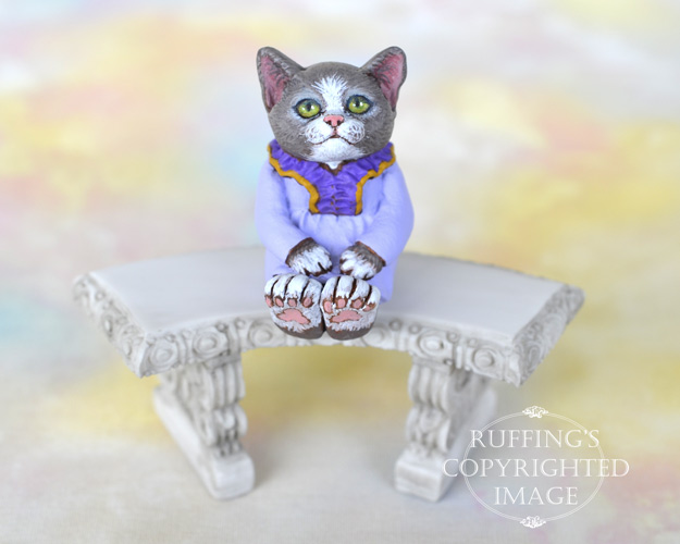 LHeather, miniature gray and white cat art doll, handmade original, one-of-a-kind kitten by artist Max Bailey