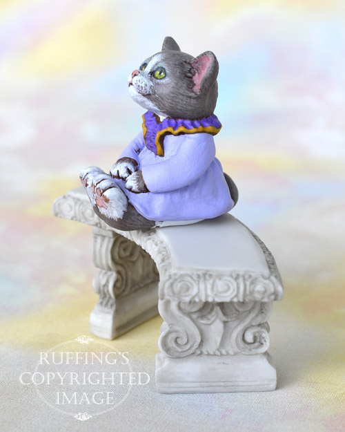 Heather, miniature gray and white cat art doll, handmade original, one-of-a-kind kitten by artist Max Bailey