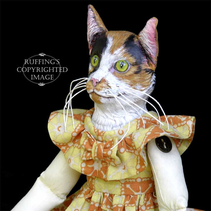 Hedda and Hopper, Original One-of-a-kind Calico Cat with a White Rabbit Art Doll by Max Bailey