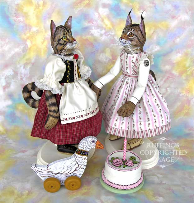Heidi and Helga, Chelsea the Maine Coon Cat, Original One-of-a-kind Folk Art Doll by Max Bailey and Elizabeth Ruffing