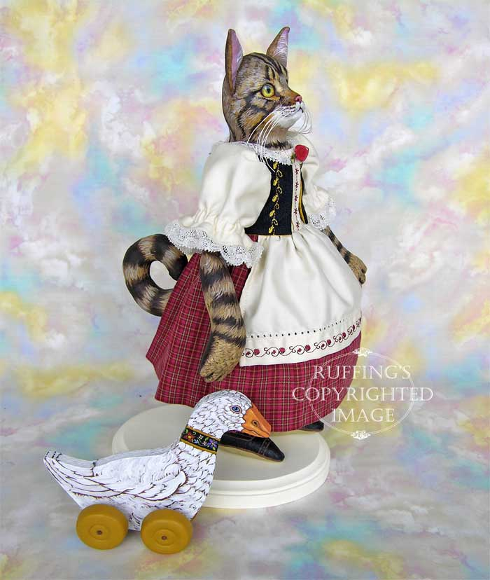 Heidi and Helga, Original One-of-a-kind Folk Art Tabby Cat Doll and Hand-painted Goose by Max Bailey and Elizabeth Ruffing