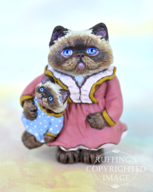 Hilary and Heather, miniature Himalayan cat art doll with her own doll, handmade original, one-of-a-kind kitten by artist Max Bailey