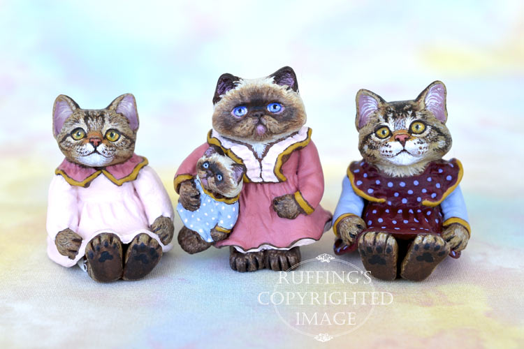 Lovey, Hilary and Heather, and Jody, miniature tabby, Himalayan, and Maine Coon cat art dolls, handmade original, one-of-a-kind kitten by artist Max Bailey