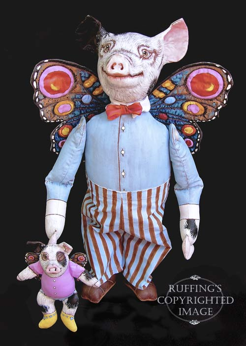 Horatio and Hannah, Original One-of-a-kind Folk Art Pig Dolls by Max Bailey