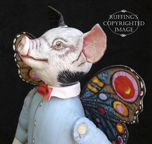 Horatio and Hannah, Original One-of-a-kind Flying Pig Folk Art Dolls by Max Bailey