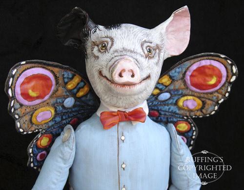 Horatio and Hannah, Original One-of-a-kind Flying Pig Folk Art Dolls by Max Bailey