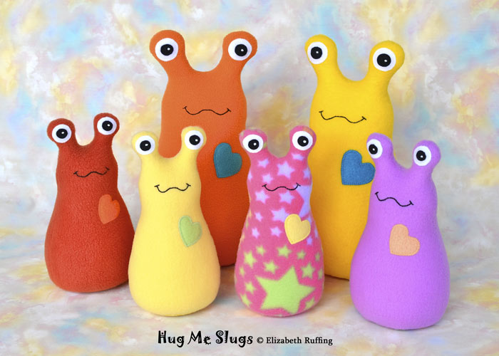 Plush Stuffed Animal Hug Me Slug by Elizabeth Ruffing, in assorted colors