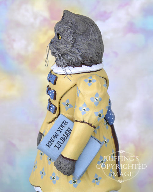 Hyacinth the Blue Persian Cat, Original One-of-a-kind Folk Art Doll Figurine by Max Bailey