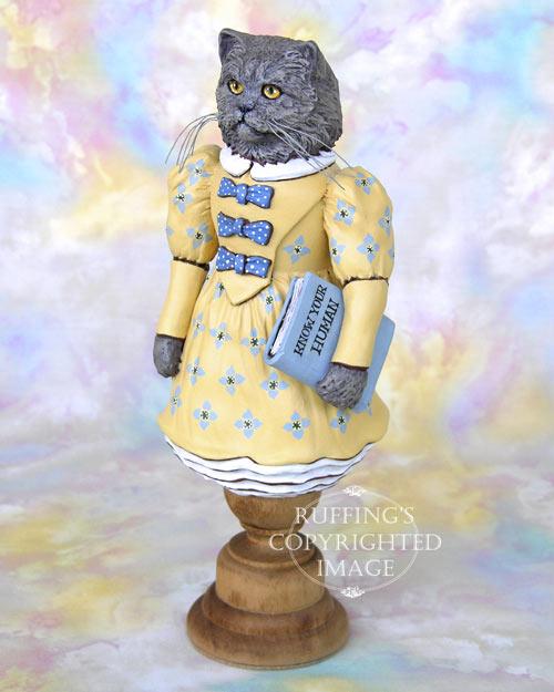 Hyacinth the Blue Persian Cat, Original One-of-a-kind Folk Art Doll Figurine by Max Bailey