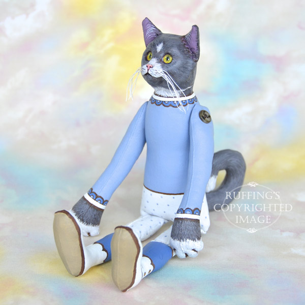 Ida, Original One-of-a-kind Gray-and-white Cat Art Doll by Max Bailey