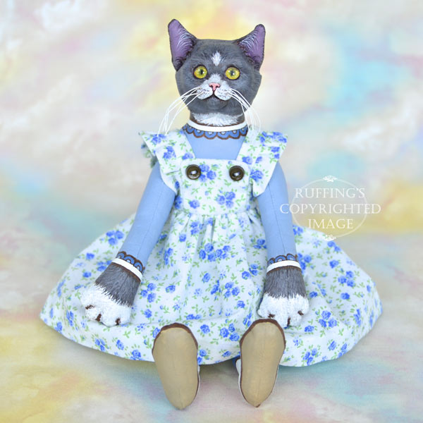 Ida Original One Of A Kind Gray And White Cat Art Doll By