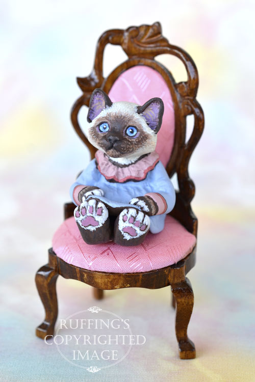 India, miniature Birman cat art doll, handmade original, one-of-a-kind kitten by artist Max Bailey