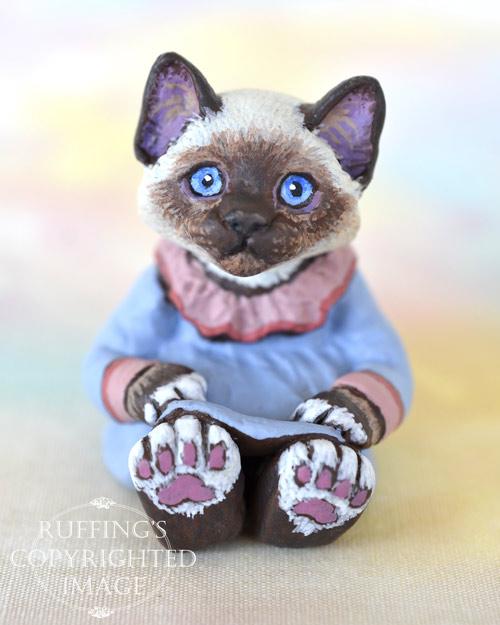 India, miniature Birman cat art doll, handmade original, one-of-a-kind kitten by artist Max Bailey