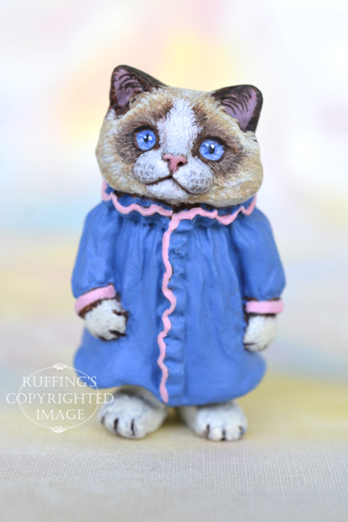 Ingrid, Original One-of-a-kind Dollhouse-sized Ragdoll Kitten by Max Bailey