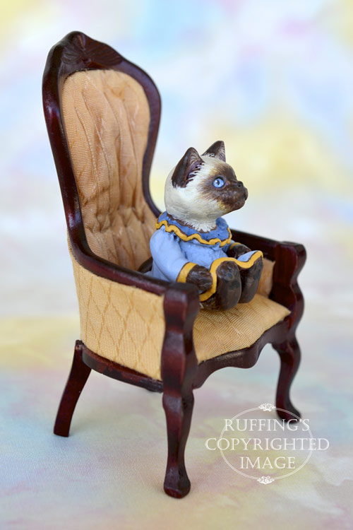 Iris, miniature Ragdoll cat art doll, handmade original, one-of-a-kind kitten by artist Max Bailey