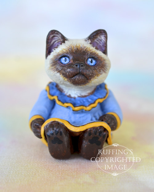 Brenda, Original One-of-a-kind Dollhouse-sized American Shorthair kitten art doll by Max Bailey