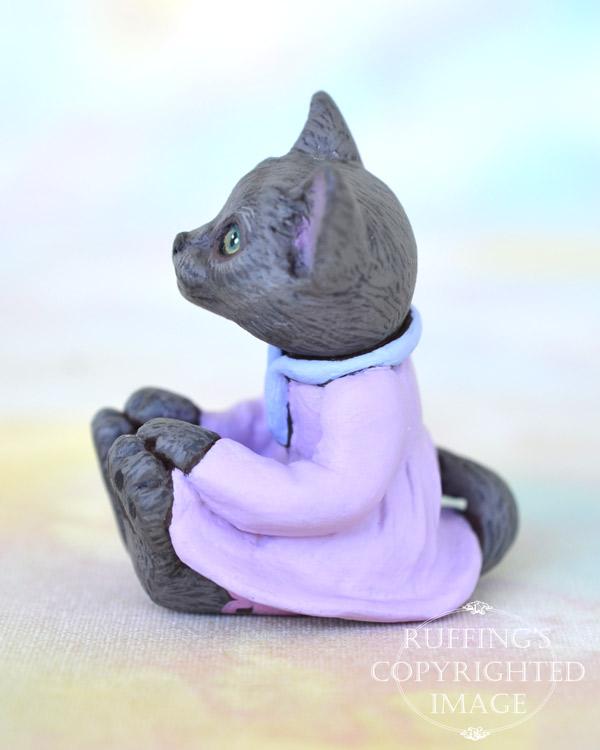 Iris, miniature Russian Blue cat art doll, handmade original, one-of-a-kind kitten by artist Max Bailey