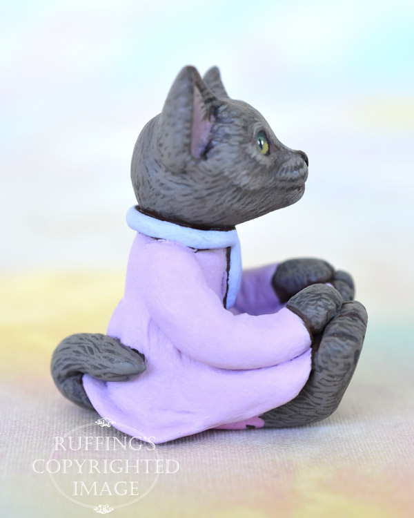 Iris, miniature Russian Blue cat art doll, handmade original, one-of-a-kind kitten by artist Max Bailey