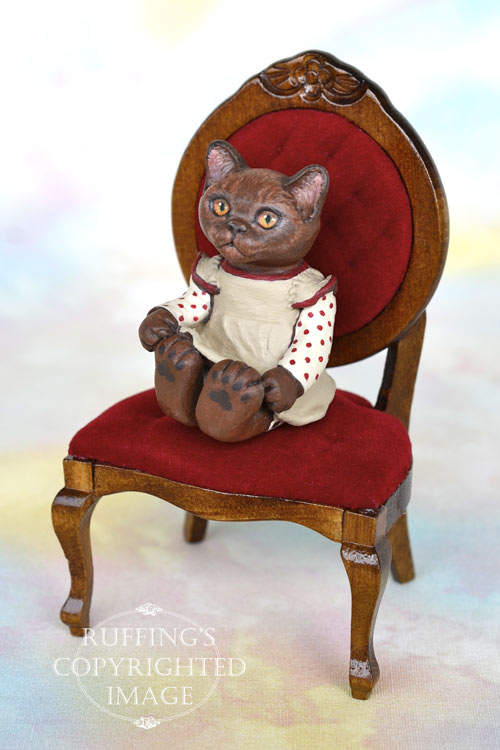 Irma, miniature Burmese cat art doll, handmade original, one-of-a-kind kitten by artist Max Bailey