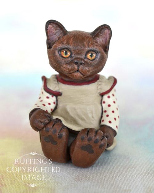 Irma, miniature Burmese cat art doll, handmade original, one-of-a-kind kitten by artist Max Bailey