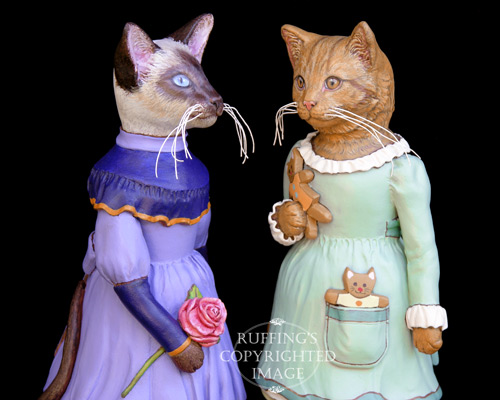 Isadora and Ginnie, Original One-of-a-kind Siamese and Ginger Tabby Cat Folk Art Doll Figurines by Max Bailey