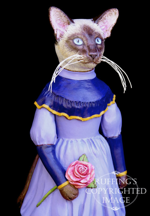 Isadora, Original One-of-a-kind Siamese Cat Folk Art Doll Figurine by Max Bailey