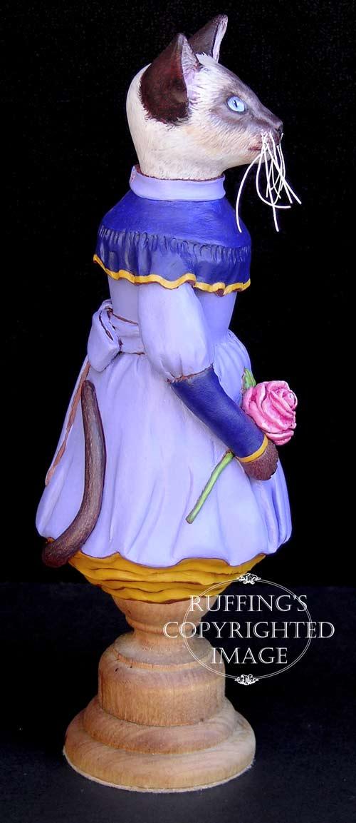 Isadora, Original One-of-a-kind Siamese Cat Folk Art Doll Figurine by Max Bailey