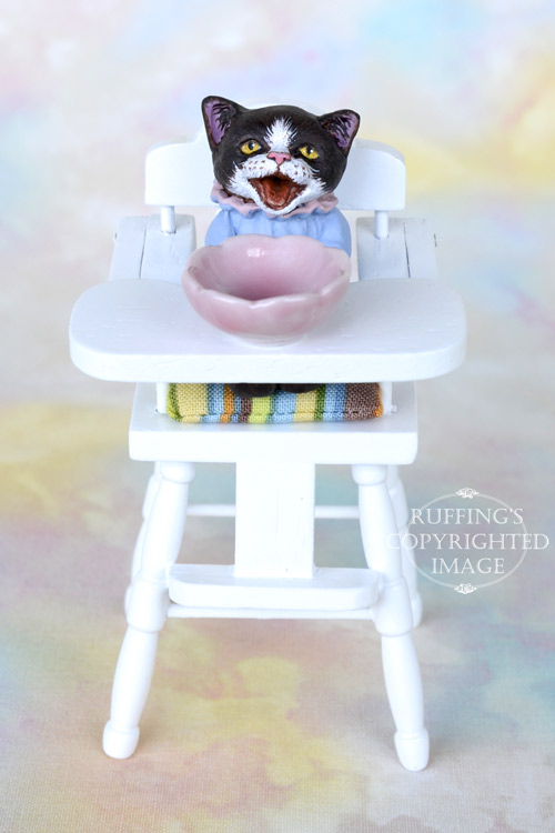 Miniature black-and-white tuxedo cat art doll, handmade original, one-of-a-kind kitten, Izzie by artist Max Bailey
