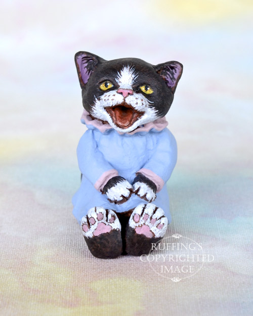 Izzie, Original One-of-a-kind Miniature Tuxedo Kitten Art Doll by Max Bailey