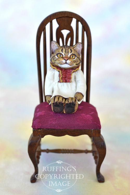 Jamie, miniature tabby cat art doll, handmade original, one-of-a-kind kitten by artist Max Bailey