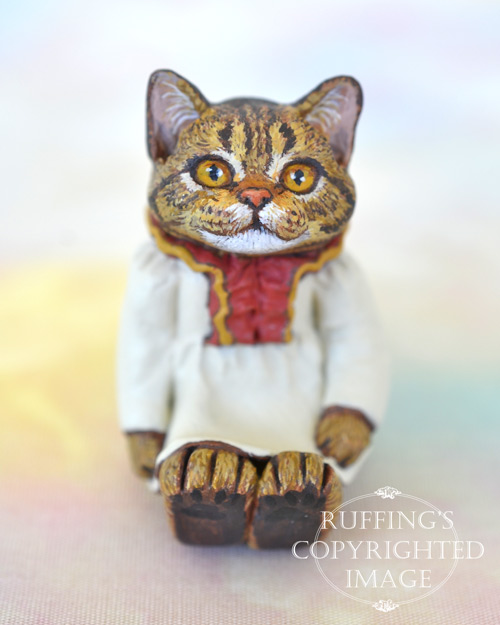 Jamie, miniature tabby cat art doll, handmade original, one-of-a-kind kitten by artist Max Bailey