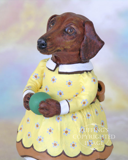 Janie, Original One-of-a-kind Dachshund Folk Art Dog Doll Figurine by Max Bailey