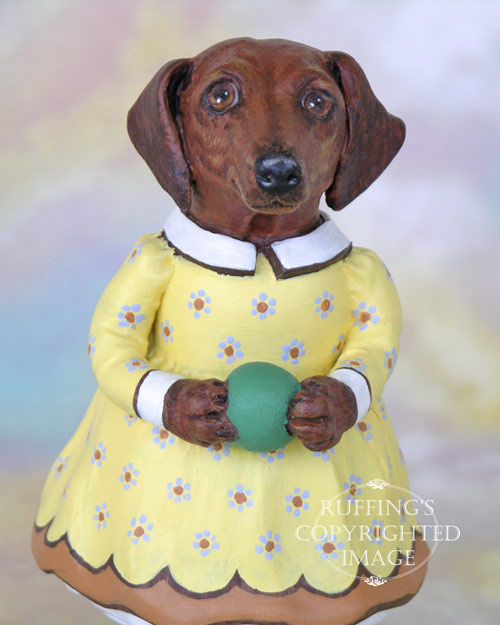 Janie the Dachshund, Original One-of-a-kind Folk Art Dog Doll Figurine by Max Bailey
