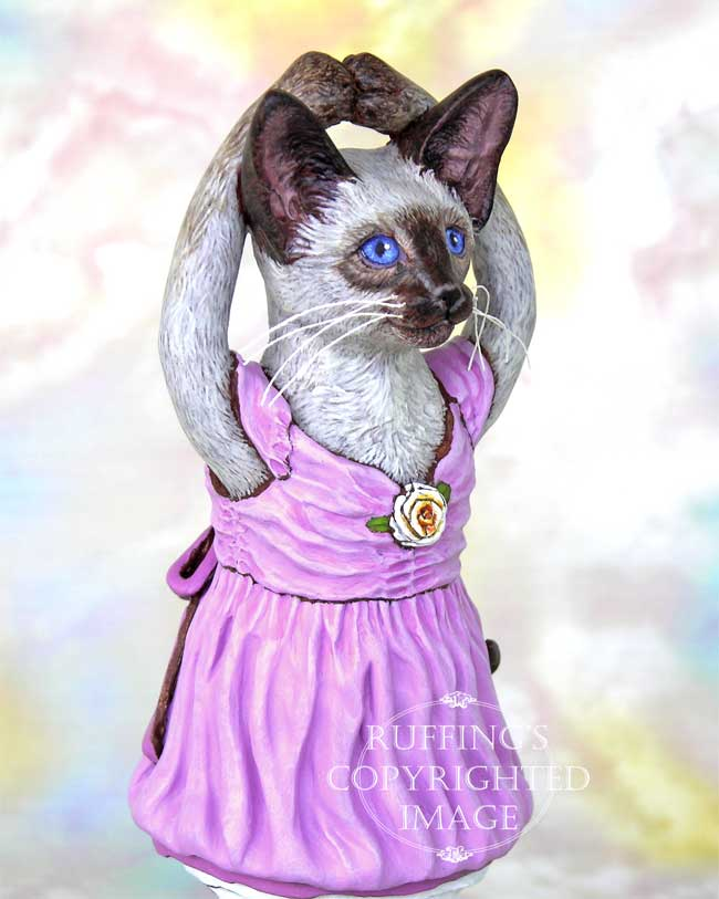 Jazzie the Siamese Ballerina, Original One-of-a-kind Folk Art Cat Doll Figurine by Max Bailey