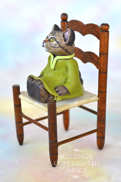 Jenna, miniature tabby cat art doll, handmade original, one-of-a-kind kitten by artist Max Bailey
