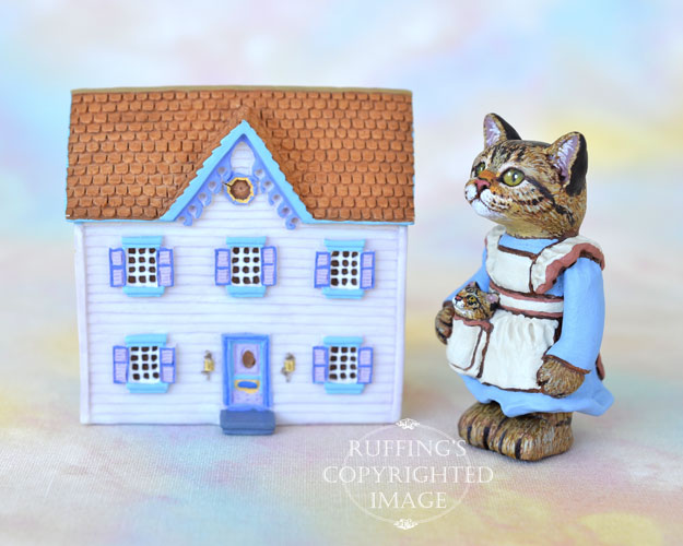 Jennifer, miniature tabby cat art doll, handmade original, one-of-a-kind kitten by artist Max Bailey