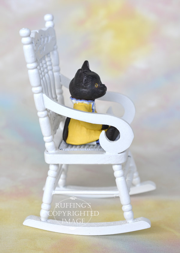 Jetta, miniature black Bombay American Shorthair cat art doll, handmade original, one-of-a-kind kitten by artist Max Bailey