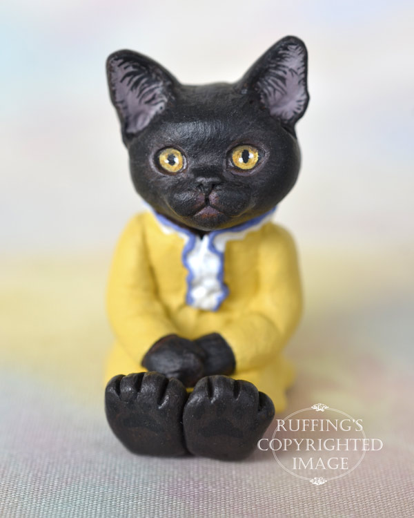 Jetta, miniature black Bombay cat art doll, handmade original, one-of-a-kind kitten by artist Max Bailey
