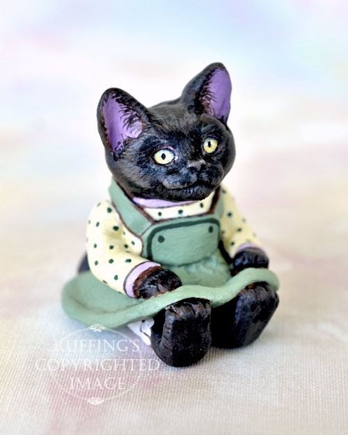 Miniature black cat art doll, handmade original, one-of-a-kind kitten, Jewel by artist Max Bailey