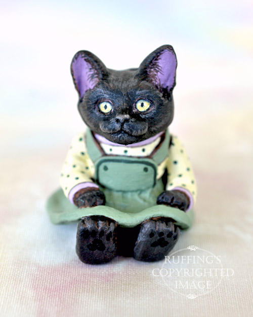 JMiniature black cat art doll, handmade original, one-of-a-kind kitten, Jewel by artist Max Bailey