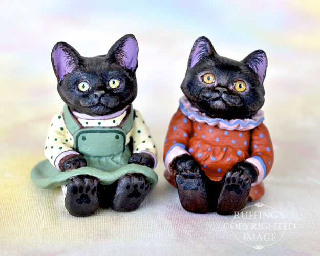 Miniature black cat art dolls, handmade original, one-of-a-kind kittens, Jewel and Mandy by artist Max Bailey
